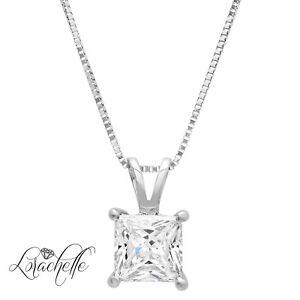 2-0-ct-Princess-Cut-Solitaire-14K-White-Gold-Pendant-Necklace-16-034-Chain