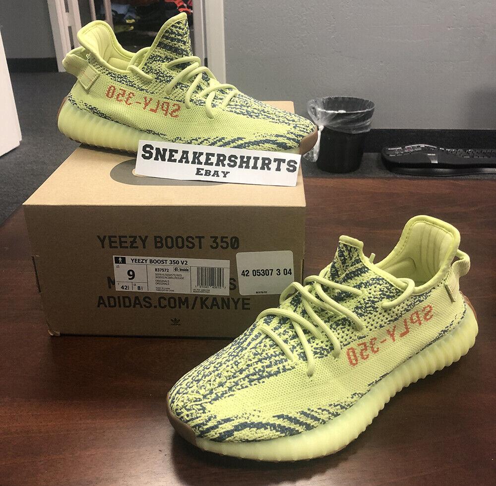 Adidas Yeezy Boost 350 V2 Frozen Yellow Kanye B37572 Sz. 9
