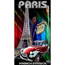 Serviette Drap de plage Paris - Tour Eiffel - 2cv strandtuch beach towel coton