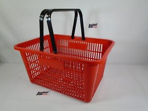 New-Red-Plastic-Shopping-Basket-Market-Grocery-Retail-Store-Supplies