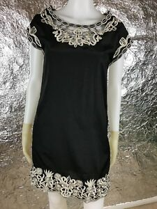 SALE-Women-039-s-Forever-21-Dress-Black-Embroidered-Shift-Dress-Size-S-Pre-Owned
