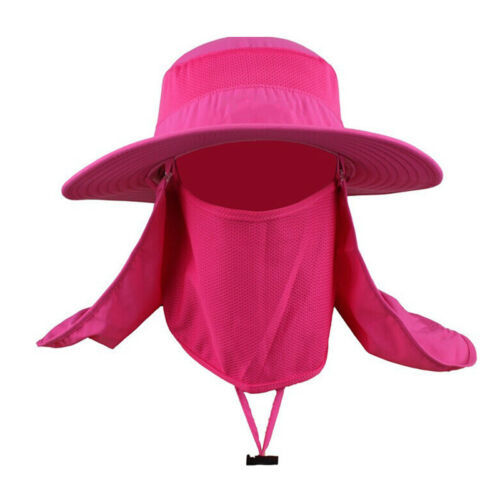 Men UV Protect Outdoor Fishing Hiking Hat Face Neck Flap Sun Cover Cap Wide Brim