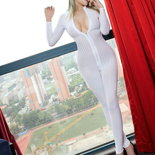 Women Striped Sheer Bodysuit Romper Smooth Fiber Zipper Long Sleeve Jumpsuit