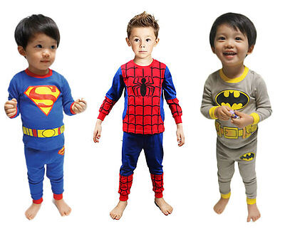 Baby Boy Kids Pajamas Sleepwear Home Night Pjs Clothes Superman Batman Spiderman