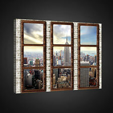 CANVAS WANDBILD LEINWANDBILD FOTO  AUSBLICK STADT NEW YORK FENSTER  3FX2382O1