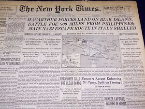 1944 MAY 28 NEW YORK TIMES - MACARTHUR FORCES LAND ON BIAK ISLAND - NT 1804