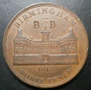 Threepence token 19th century - Birmingham Workhouse 1813 copper 3d 73.5g W.383