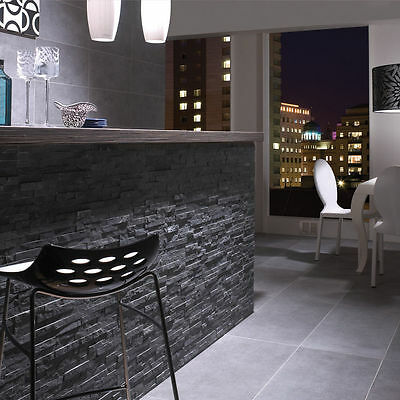Splitface Ledgestone Charcoal Black Slate Mosaic 400x122x8/15mm Wall Tiles
