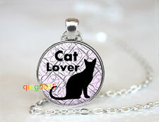 Cat Lover photo glass dome Tibet silver Chain Pendant Necklace wholesale