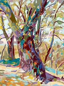 ART-PRINT-POSTER-PAINTING-DRAWING-MULTICOLOURED-TREES-BRANCHES-FOREST-LFMP1069