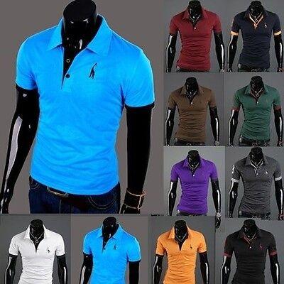 NEW  Mens Premium K-POP Design Giraffe Basic Slim Fit POLO T-Shirt