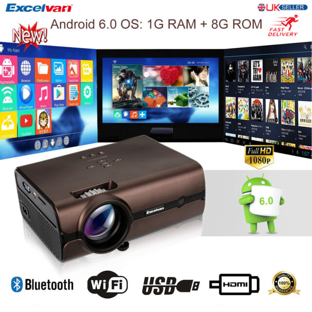 WiFi 4K 3D 1080P Android 6.0 3000Lumens LED Projector Home Theater Bluetooth 8GB