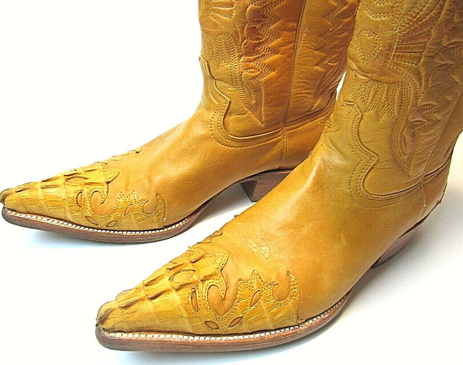 VTG EL GENERAAL Exotische Cowboy laarzen mannen's 8.5 --9 mantequilla Ostrich Caiman
