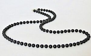 Black-Onyx-Gemstone-6mm-Bead-Mens-24-034-36-034-Necklace-Sterling-Silver-Clasp-Option