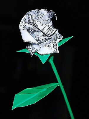Nice Money ROSE Origami out of One Dollar bill Tutorial DIY (Jodi ... | 400x302
