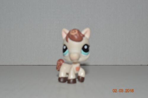 Littlest Pet Shop~#1616~Horse Pony~White Brown~Apple On Chest~Blue Dot Eyes