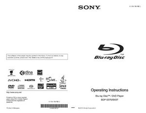 sony bdp bx37 blu ray player owners manual ebay rh ebay com Cell Phone Operation Manuals Frigidaire Electrolux Refrigerator Manual
