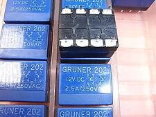 Gruner 202 Relais Relay Coil Voltage Spulenspannung 12V 2.5A 250VAC