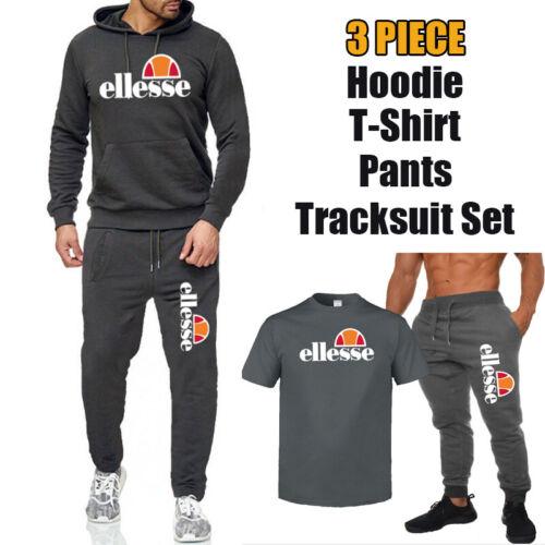 Men Hoodie T-Shirt Pants Set 3Piece Jogging Camping Tracksuit Sport Bottoms Suit