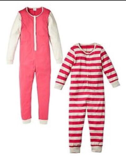 2 Pack 1 Stripe 1 Contrast NEW Age 4-5 Years Pink /& Cream Girls Pyjamas PJ