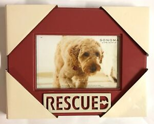 RESCUED-Dog-Cat-Pet-Photo-Frame-4-X-6-SONOMA-New-Animal-Lover-Gift
