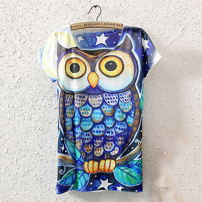 Summer Women Short Sleeve Owl Graphic Printed T-Shirt Tee Blouse Tops Excellent