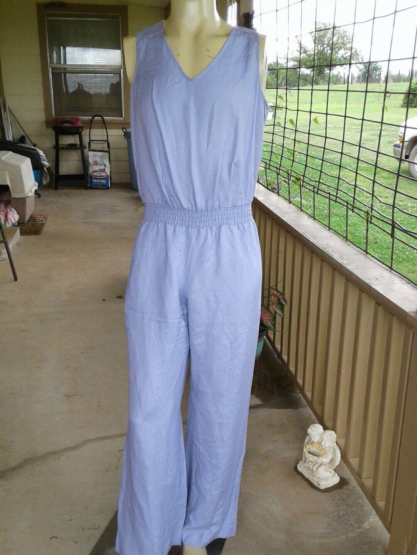 NWOT Ashley STEWART sz 12 Lavender JUMPSUIT Laced Wide Legs