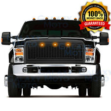 08-10 Ford Super Duty Raptor Matte Black Package Mesh Grille+Shell+Amber 3x LED