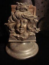 Antique Victorian Match Safe Match Box Holder Lady Faces Art Nouveau Stand