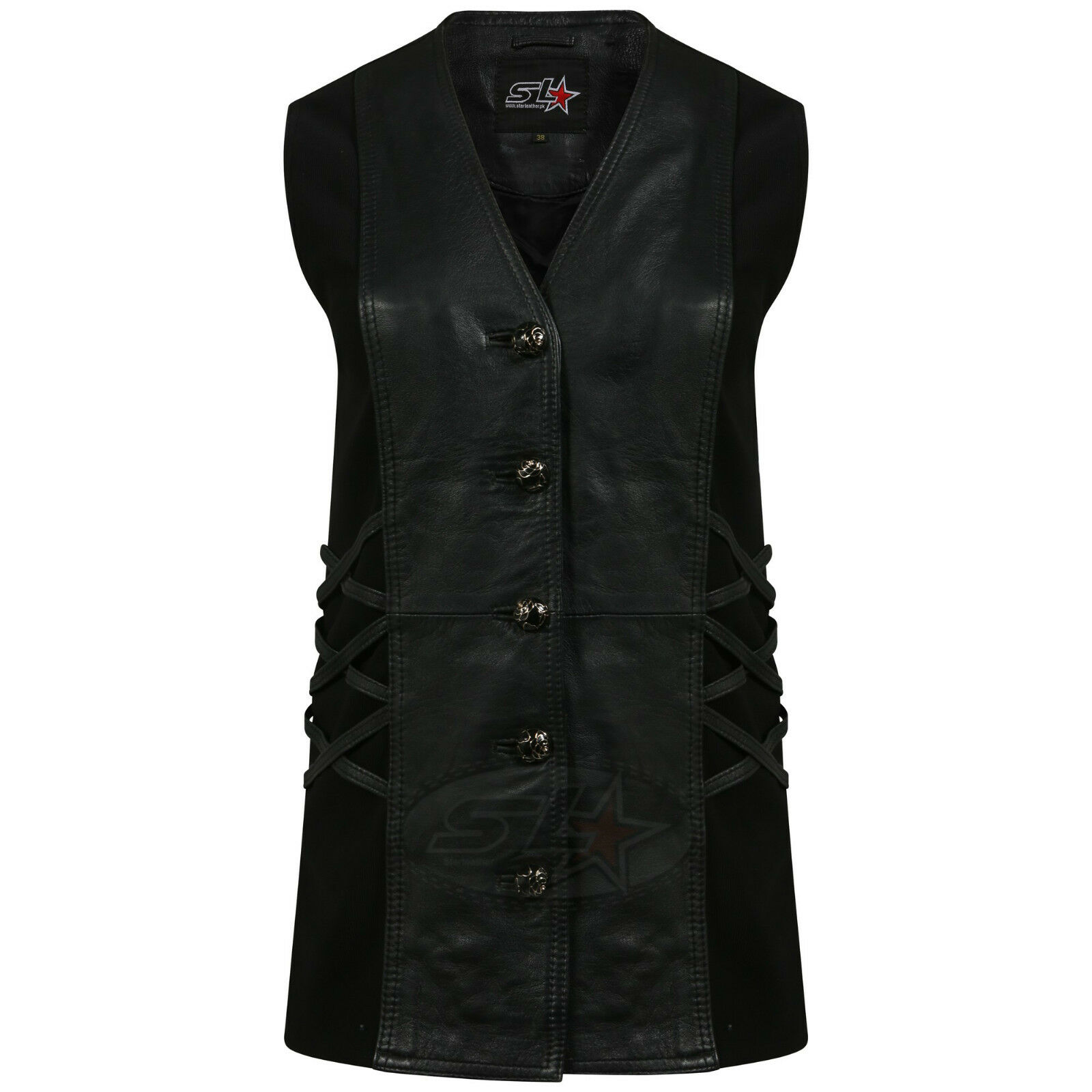 3XL Womens Ladies Cowhide Real Leather Plain Motorcycle Biker Waistcoat Vest in Black