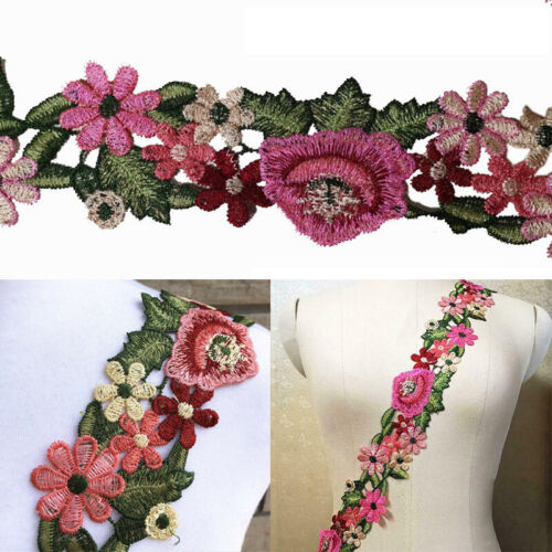 1yds Flower Lace Trim Crochet Embroidered Fringe Ribbon Fabric Sewing DIY Crafts