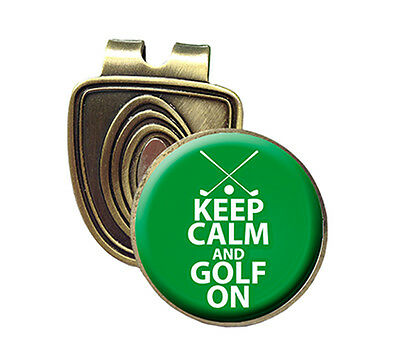 KEEP CALM & GOLF ON FUSION CAP CLIP & MAGNETIC GOLF BALL MARKER IN BRONZE