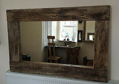 Rustic reclaimed Driftwood farmhouse wide frame wooden Mirror Dark Brown