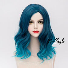 Lolita 45CM Blue Gradient Medium Curly Harajuku Women Ladies Cosplay Party Wig