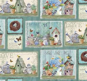 Patchwork-Quilting-Sewing-Fabric-DREAM-GARDEN-BLESS-THIS-HOME-Panel-30x110cm