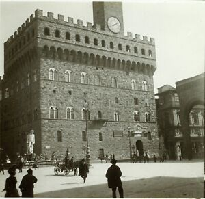 ITALIE-Florence-Palazzo-Vecchio-c1900-Photo-Stereo-Grande-Plaque-Verre