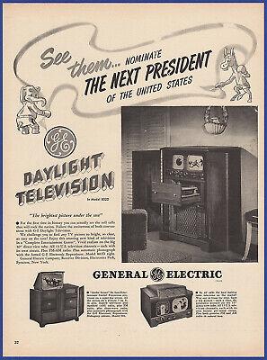 1950 Ad GE General Electric Portable Radio Maroon Green
