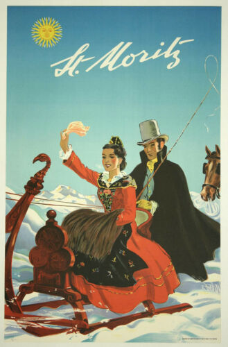 St. MORITZ .. Vintage Travel/Skiing Poster  A1A2A3A4Sizes