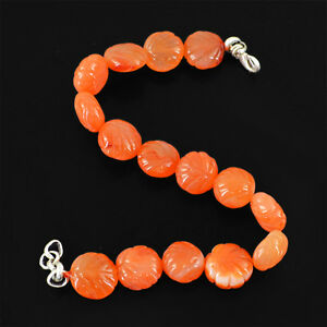 Marvellous-Top-Grade-175-10-Cts-Natural-Orange-Carnelian-Carved-Beads-Bracelet