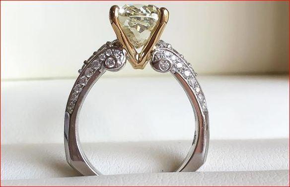 2.20Ct Round Cut Moissanite Euro Shank 2 Tone Engagement Ring 14k White gold