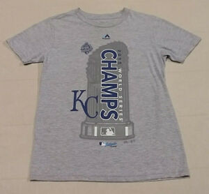 new arrival 16611 e7262 Details about Boys Kids KANSAS CITY ROYALS Majestic MLB S/S T-Shirt Tee  Champs Gray Small EUC