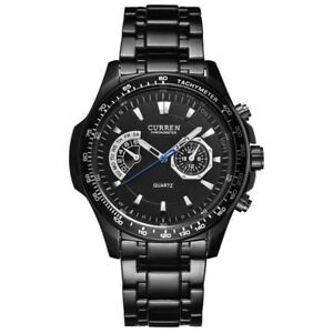 CURREN-Mens-Quartz-Luxury-Wrist-Watch-Army-Waterproof-Wristwatch-Stainless-Steel
