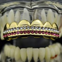Pink Grillz Top Upper Teeth 14k Gold Plated 2 Two-row Double Iced-out Grills