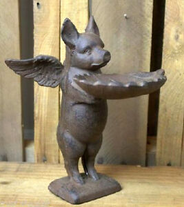 Image Is Loading Flying Pig Bird Feeder Cast Iron Birdfeeder Winged