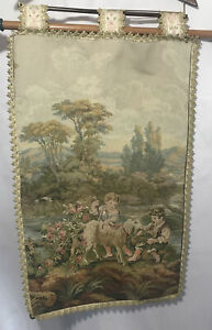 Vintage-Aubusson-French-Tapestry-Repro-Scene-of-Children-amp-Goat-with-Hanger