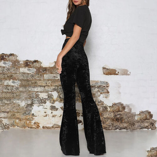 Bottoms Ladies Velvet Waist Trousers Casual Crushed Womens Pants High Flare Bell