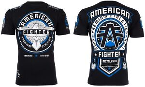 AMERICAN FIGHTER Mens T-Shirt TRIDENT Athletic BLACK Biker Gym MMA UFC $40