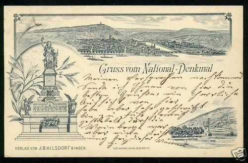 Vorläufer Litho Rüdesheim am Rhein, Niederwald Nationaldenkmal, 1889