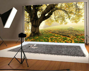7x5ft Prop Backdrop Photo Background Natural Scene Big Tree Studio Fallen Leaves