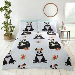 Rapport-Panda-Cute-Fun-Animal-Floral-Print-Duvet-Cover-Bedding-Set-Multi